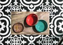 Tarhong voerbak hond olive melamine houtprint / teal zeegroen