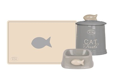 Banbury & co giftset kat placemat / voerbak / voorraadpot keramiek