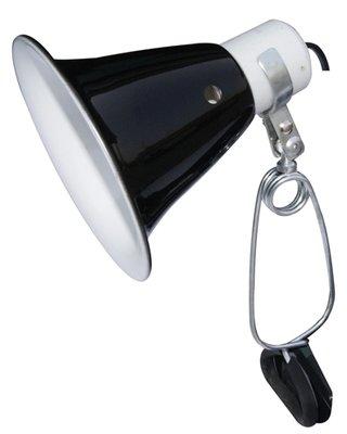 Komodo black dome clamp lamp fixture