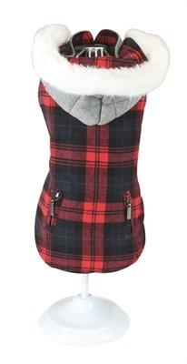 Croci hondentrui sweater tartan chessboard tweezijdig rood / grijs