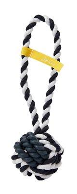 Joules werpbal rubber en touw wit / blauw