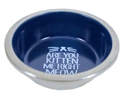 Voerbak kat rvs / melamine blauw tekst